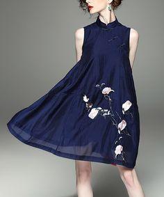 Look what I found on #zulily! Blue Floral High-Neck A-Line Dress #zulilyfinds