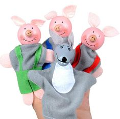 Toy Puppets 4 - Three Little Pigs & Wolf