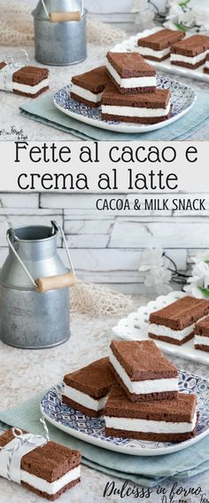 Fette al cacao e crema al latte - Merendine al latte e cacao - Kinder fetta al latte - Ricetta fetta al latte - Snack with milk and chocolate recipe - Milk and chocolate cake
