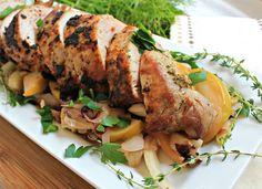 Pork Tenderloin with Apple, Thyme and Mustard - Happy Healthnut guest post on Mommypotamus