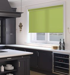 Simply Chic Roller Shade: Solid Colors shown in Spring Moss Interior Design Boards, Roller Shades, Roller Blinds, Grey Kitchen Cabinets, Blinds For Windows, Window Blinds, Window Coverings, Window Treatments, Minimalist Living