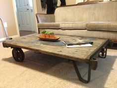 SOLD  Vintage Industrial Cart Refurbished As A Coffee Table