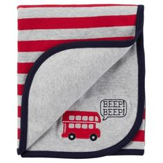 Just One You Carters Gray Red Stripe Double Decker Bus Beep Cotton Baby Blanket for sale online Baby Receiving Blankets, Baby Boy Blankets, Orange Bedding, Grey Bedding, Carters Baby Blanket, Boy Nursery Bedding Sets, Carters Just One You, Double Decker Bus, Baby Wearing