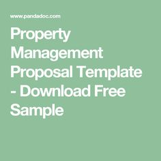 Property Management Proposal Template - Download Free Sample