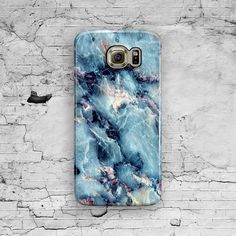 Marble Samsung Galaxy Case Blue Galaxy S6 Case by ByKustomKase