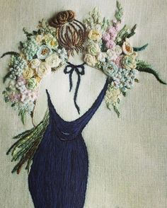 Pretty whimsical art embroidery , beautiful gift for floral and fashion lovers. Inspiration for thread. Красная нить – вышивка и рукоделие