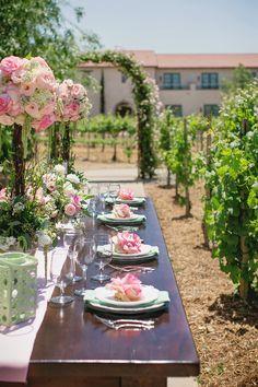 vineyard wedding decor #vineyardwedding #winerywedding #grapes #green #pink #blush #vintage #romantic #blushingbride #weddinginvitiations #letterpress #abbeymalcolmpress #abbeymalcolmletterpressanddesign www.abbeymalcolmpress.com