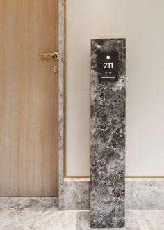 Door Signage, Hotel Signage, Wayfinding Signage, Signage Design, Hotel Corridor, Hotel Door, Hotel Room Design, Lobby Design, Lift Design