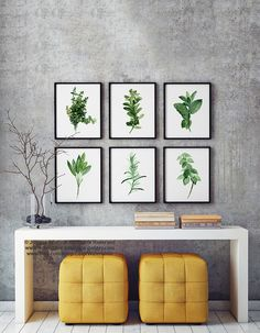 Kitchen Herb Print Green Wall Painting, Watercolor Set 6 Herbs Spices Art Decor, Gift for Women Botanical Illustration, Home Garden Poster