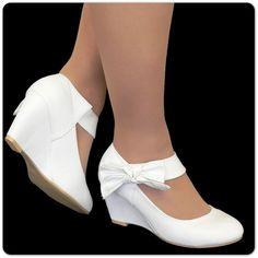 Brautschuhe-Keilabsatz-Damen-Pumps-Z43-Klett-Schuhe-Damen-Slipper-Peep-Toes
