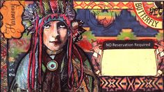 https://flic.kr/p/8P23ke | No Reservation Required | Mail Art Envelope for a November swap (artist's choice).  Teeshamoore face; Native American headdress and body altered from library of congress photo; all else from my stash.  Thank you for the visit.