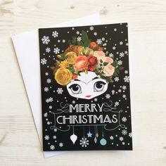 Pequeña Frida Kahlo tarjeta de feliz Navidad (diseño 3)