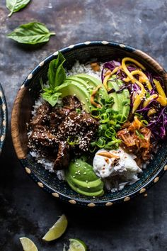 Four Kitchen Decorating Suggestions Which Can Be Cheap And Simple To Carry Out Korean Bulgogi Bbq Steak Bowls Half Baked Harvest Asian Recipes, Beef Recipes, Cooking Recipes, Healthy Recipes, Healthy Snacks, Korean Bulgogi, Korean Bbq, Bbq Steak, Chicken Burrito Bowl