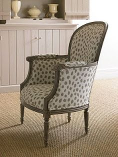 (Joe Ruggiero) Poka A New Sunbrella Pattern Germaine Chair Cherry Wood Floors, Patterned Chair, Painted Chairs, Vintage Chairs, Take A Seat, Occasional Chairs, Furniture Styles, Home Accessories, Upholstery