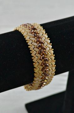 Beaded Herringbone Bracelet in Gold and Cream Half Tila Bead #beadedjewelry