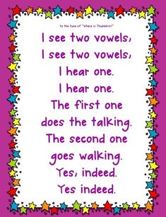 Vowel Teams Songs and Flash Cards - freebie for first grade First Grade Songs, First Grade Phonics, First Grade Lessons, First Grade Reading, First Grade Rules, Phonics Rules, Phonics Song, Phonics Lessons, Jolly Phonics