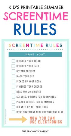 Screentime Rules for Kids on Summer Break Screentime Rules for Summer. Printable Screentime Rules is a checklist of personal tasks, chores & educational / screen-free activities to earn screen time. Parenting Advice, Kids And Parenting, Parenting Styles, Parenting Classes, Parenting Quotes, Peaceful Parenting, Timmy Time, Rules For Kids, Chores For Kids By Age