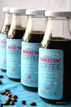 Cold Brew Coffee Party Favors for the morning after. Print your own design on Avery 18163 labels.
