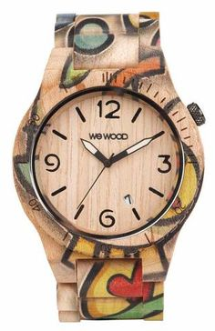 Wooden watch Alpha Woop Eyes Beige
