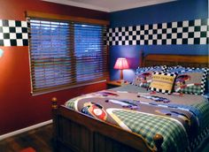 race car bedroom - love the paint and checkered border!