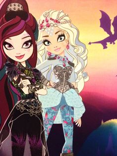 Raven and Darling in Dragon Games Ever After High Rebels, Ever After Dolls, Raven Queen, Dragon Games, Fanart, Bratz Doll, Outdoor Art, Teen Titans, Animal Design