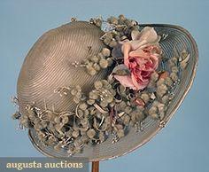 Augusta Auctions, April 2006 Vintage Clothing & Textile Auction, Lot 456: Wide Brim Paris Cloche, 1920s