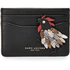 Marc Jacobs Fire Rooster Card Case ($93) ❤ liked on Polyvore featuring bags, wallets, genuine leather bags, marc jacobs bags, leather card case wallet, marc jacobs and card case wallet