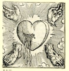 The Five Wounds of Christ. Woodcut printed by Sigmund Grimm, Augsburg, Germany, Art Et Illustration, Illustrations, Love Heart Illustration, Esoteric Art, Occult Art, Medieval Art, Medieval Tattoo, Art Graphique, Memento Mori