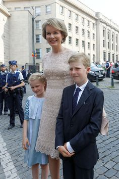 Queen Mathilde of Belgium, Prince Emmanuel and Princess Eleonore greet locals after the Te Deum mass at the Cathedral of St. Michael and St. Gudula on July 21, 2016 in Brussels, Belgium.