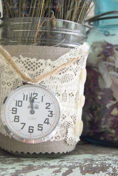 Recycled Jar + Lace = Lovely Vase. While harvesting rose petals and lavender ...postroadvintage.com