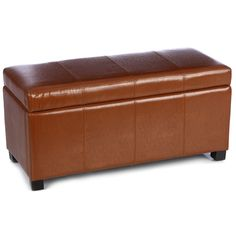 This faux-leather storage bench provides a great place to sit when getting dressed while it adds a functional place to store extra pillows, blankets, and much more. The toffee color is beautiful enough to display this bench in any room.