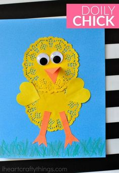 Use paper doilies to make this simple and cute doily chick craft. Fun spring kids craft, Easter crafts for kids and easy preschool craft.