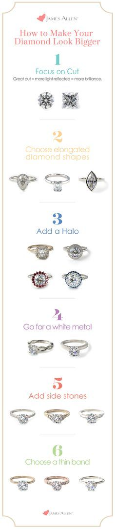 Who ever said that size matters? You can get the 'wow' effect with any sized diamond. When designing an engagement ring, enhance your diamond and get the most value with these tips and tricks.   Go to JamesAllen.com to design the perfect engagement ring and browse diamonds in 360° HD.