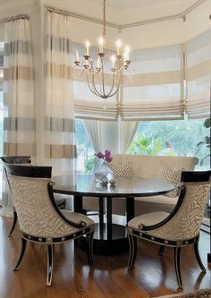 Window treatments - continuous stripes from panels to Roman shades