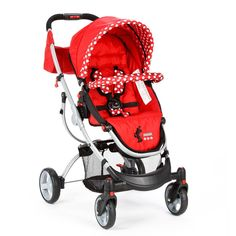Stroll in style with this Minnie Mouse Indigo stroller featuring Minnie's classic red and white polka-dot design.