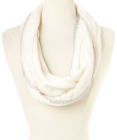 This Betsey Johnson Ivory Chain Link Infinity Scarf by Betsey Johnson is perfect! #zulilyfinds
