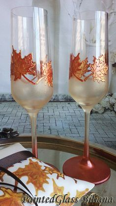 Autumn CRYSTAL SET of 2 hand painted by PaintedGlassBiliana