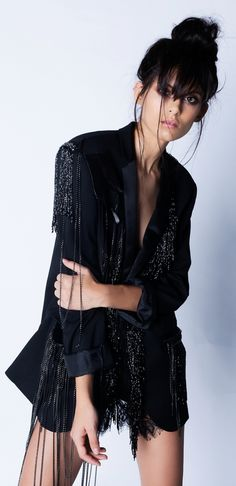 Loose fit, black crepe blazer embellished with black beaded tassels, chains and real leather details. Girls Wear, Wearing Black, Cool Girl, Ready To Wear, Blues, Goth, Kimono Top, How To Wear, Outfits