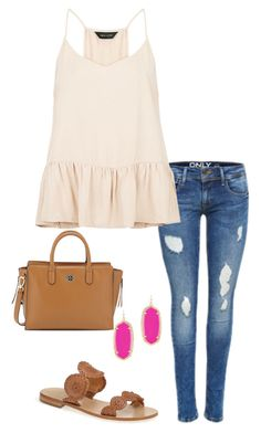 """Blouse with a pop"" by thepinkcatapillar on Polyvore featuring Jack Rogers, Tory Burch and Kendra Scott"