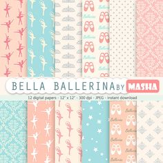 "Digitalem Papier Primaballerina: ""BALLERINA DIGITAL Papier"" Ballett digitalem Papier, Rosa und blau Ballerina, Damast, Sternen, Polkdots, Tiara"