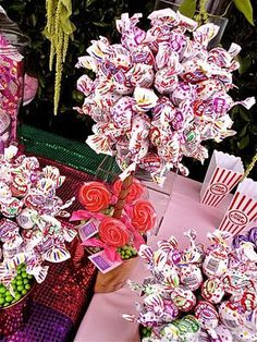 Blow Pop Lollipop Candy Land Topiary Centerpiece Vase , Candy Buffet Decor, Candy Arrangement Wedding, Mitzvah, Party Favor, Candy Creation. $49.99, via Etsy.