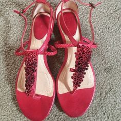 Setting in my closet, Good condition sandals Frye Shoes Sandals