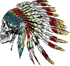 Stock vector of 'Hand Drawn Native American Indian Feather Headdress With Human Skull. Indian Feather Tattoos, Indian Feathers, Feather Art, Feather Headdress, Indian Tattoo Design, Skull Tattoo Design, Native American Headdress, Native American Indians, Eagle Pictures