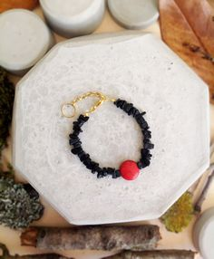 Natural black  with coral stone bracelet by MASTICA on Etsy, $12.00