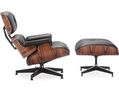 Shop the authentic Eames Lounge Chair from Herman Miller. Designed by Charles and Ray Eames, this leather lounge chair is one of the most significant designs of the century. In continuous production since Made in USA. Shop leather lounge chairs at DWR. Charles Eames, Black Ottoman, Chair And Ottoman, Armchair, Eames Recliner, Swivel Chair, Eames Rocker, Recliners, Chair Cushions