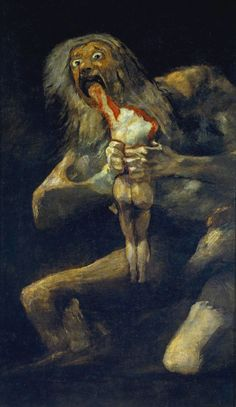 From Art History Francisco de Goya, Saturn Devouring One of His Sons. (From the series of Black Paintings.) Oil on canvas, 143 × 81 cm