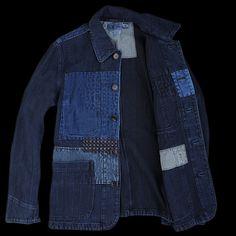 7e86a30733 Sashiko Fabric Coverall Jacket in Pure Indigo