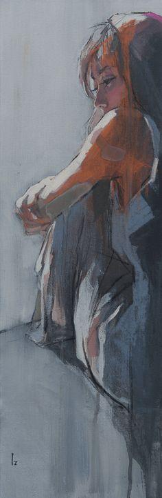 古河原泉の作品紹介「やさしい雨に抱かれるように」(2015/9 H600×W200mm 油彩)