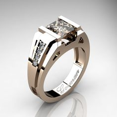 Mens Modern 14K Rose Gold 2.0 Carat Princess by GormanDesigns