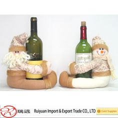 2015 Merry Christmas Sitting Santa Claus wine bottle covers for promotion